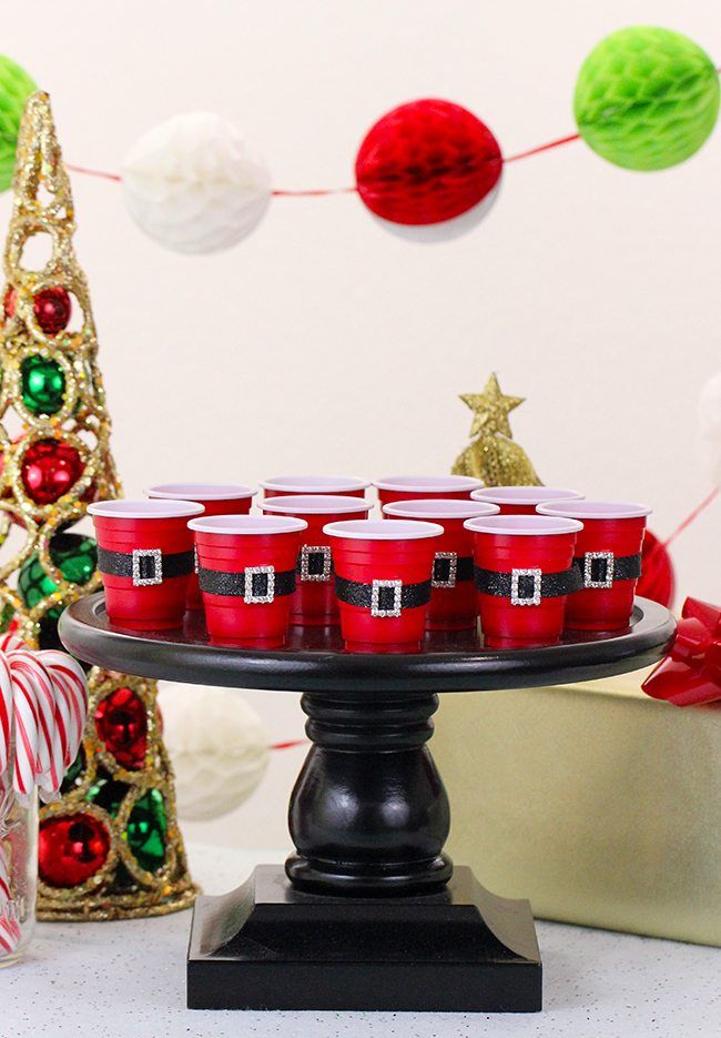 Super Adorable DIY Mini Santa's Belt Cups