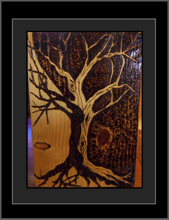 Pyrography Tree Of Life Interesting Black White Contrast