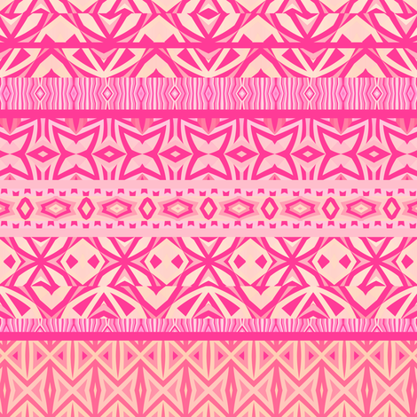 Tribal Pattern - Pink fabric by ornaart on Spoonflower - custom fabric