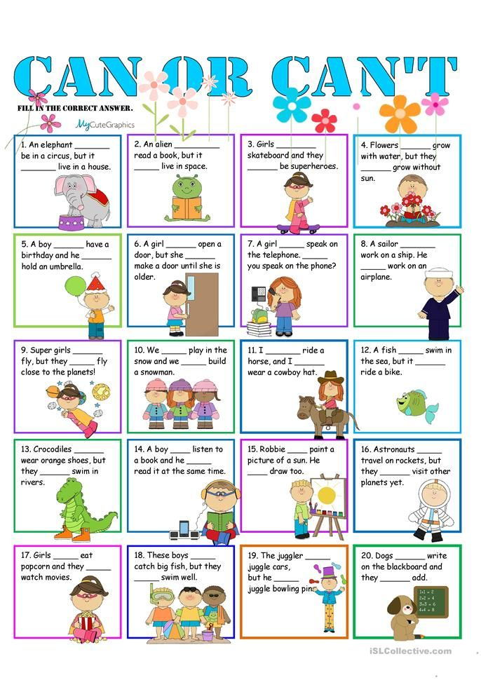 Can or Can't for Beginners English ESL Worksheets for