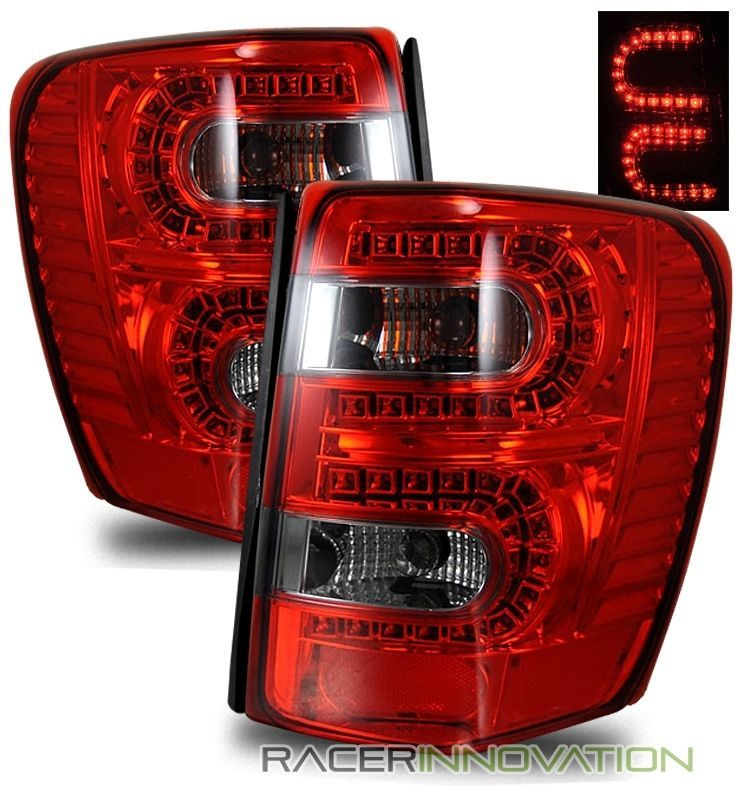 For 99 04 Jeep Grand Cherokee Euro Red Smoked Led Tail Light Rear Brake Lamps Jeep Grand Cherokee 04 Jeep Grand Cherokee Jeep Grand