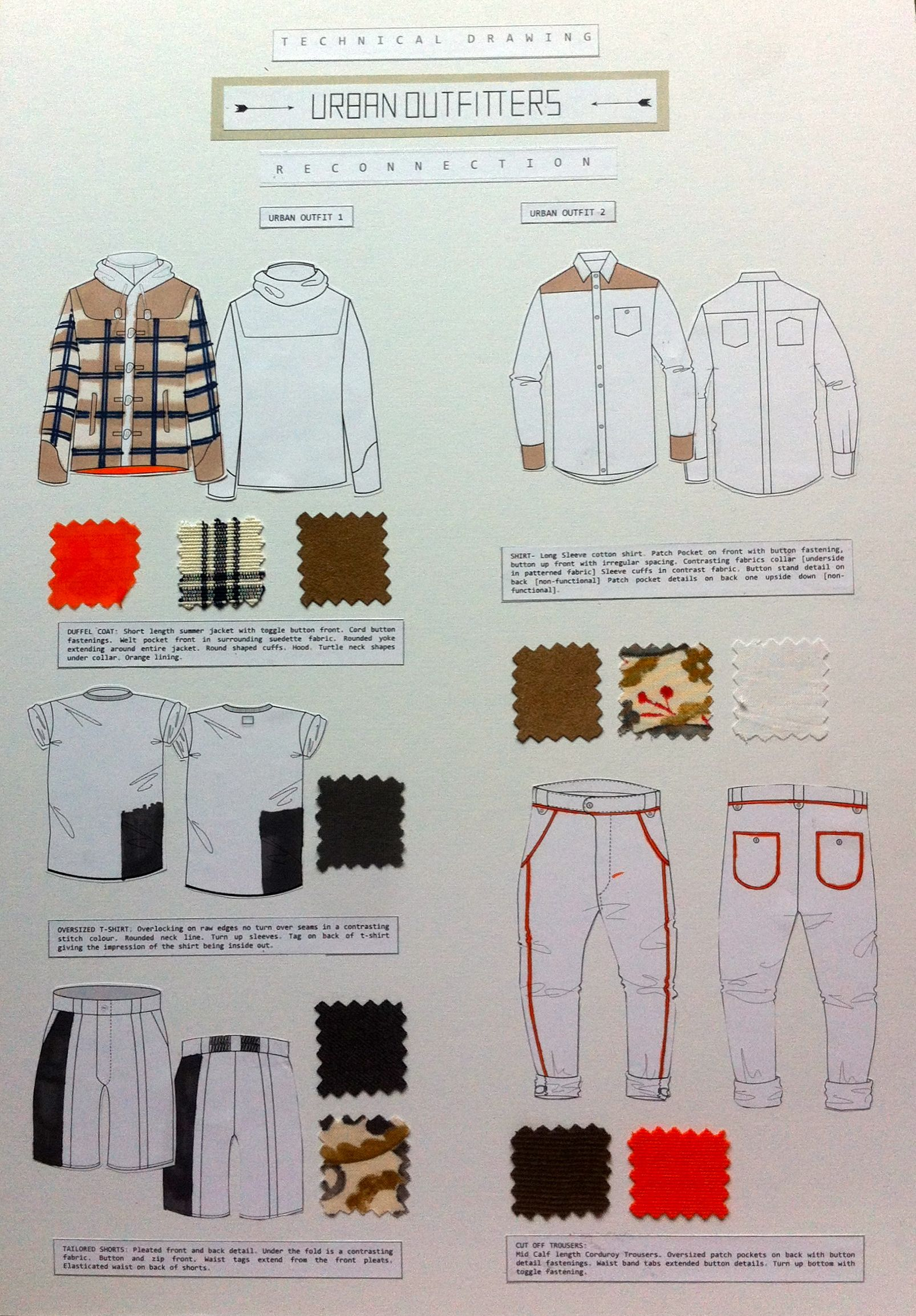 Final working drawings, including fabric swatches and