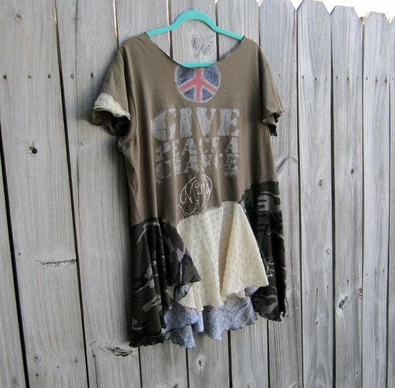 Give Peace A Chance John Lennon slouchy tunic top/ by 75Rabbit, $55.95