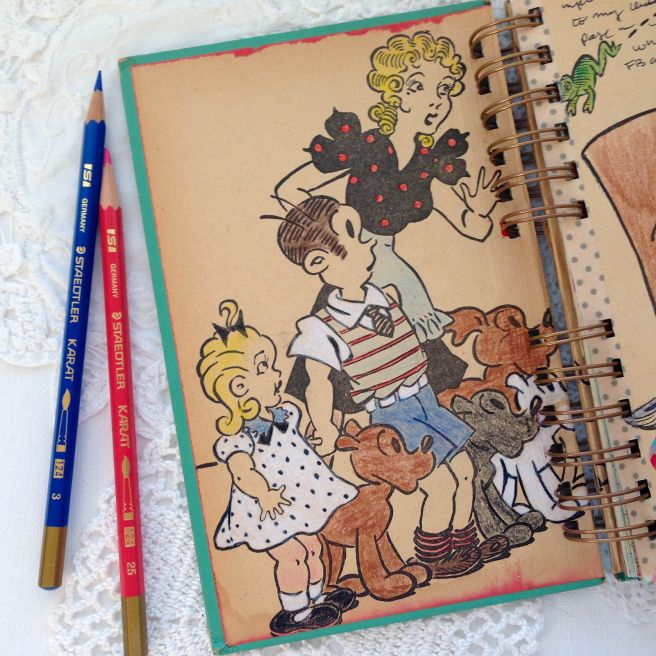 Coloring the pages in my art journal | Art journal, My ...