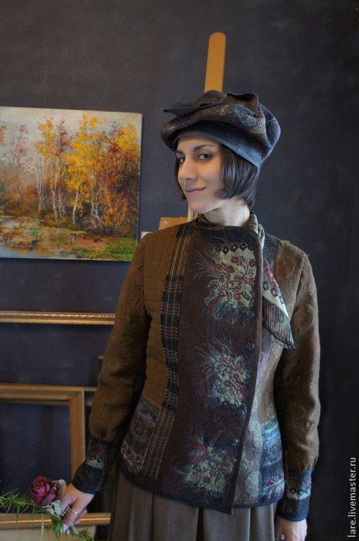 Купить Жакет, юбка и берет - коричневый, абстрактный, авторское платье, дизайнерская одежда, комплект