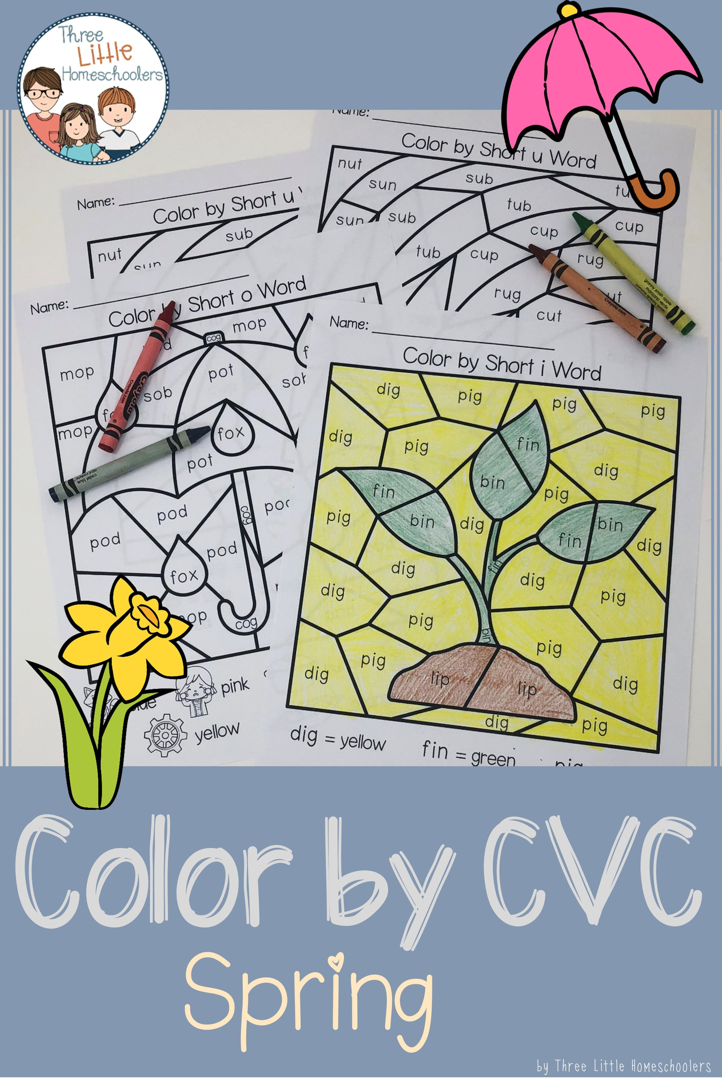 Spring Color By Cvc Word With Images