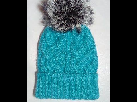 шапка узором косы шапка спицами шапка с меховым помпоном вязание