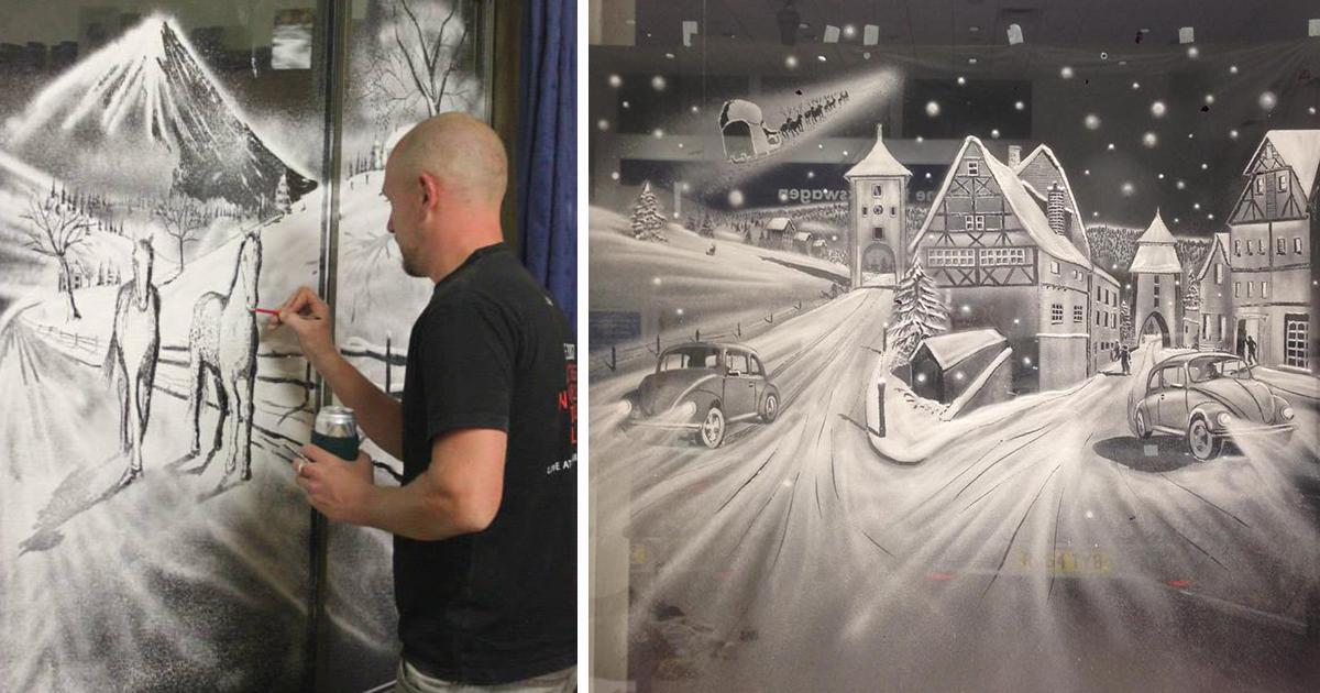 Window Snow Art That I Created Using Snow Spray Christmas Window Painting Window Snow Spray Snow Art