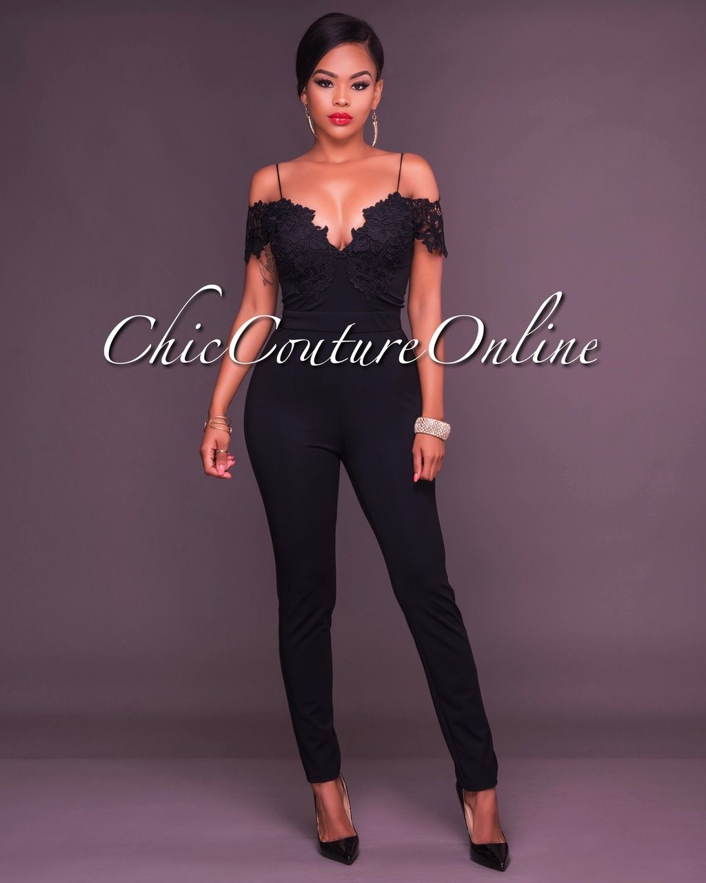 93bde12978d5 Chic Couture Online - Emrata Black Lace Off The Shoulder Jumpsuit