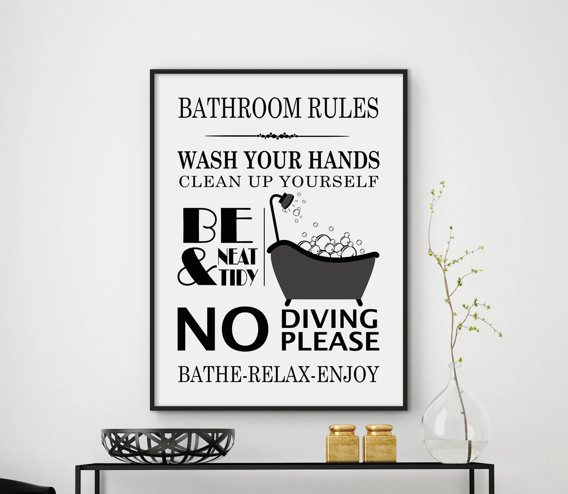 Bathroom Rules Bathroom Print Bathroom Decor Bathroom Sign Etsy