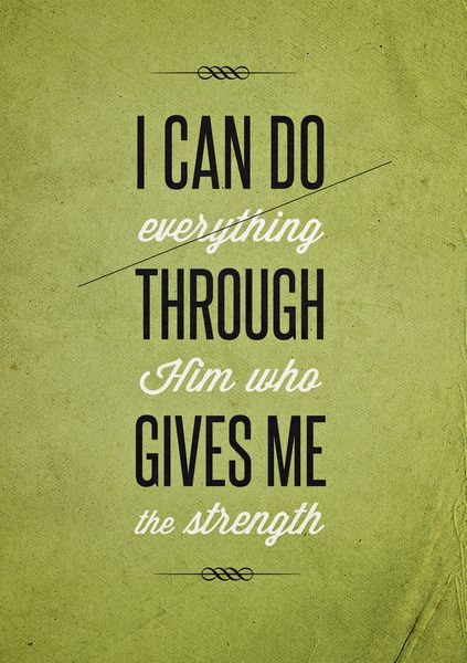 I Can Do Everything Through Him Who Gives Me Strength Word Art Print Poster Black White Motivational Quote Inspirational Words Of Wisdom Motivationmonday