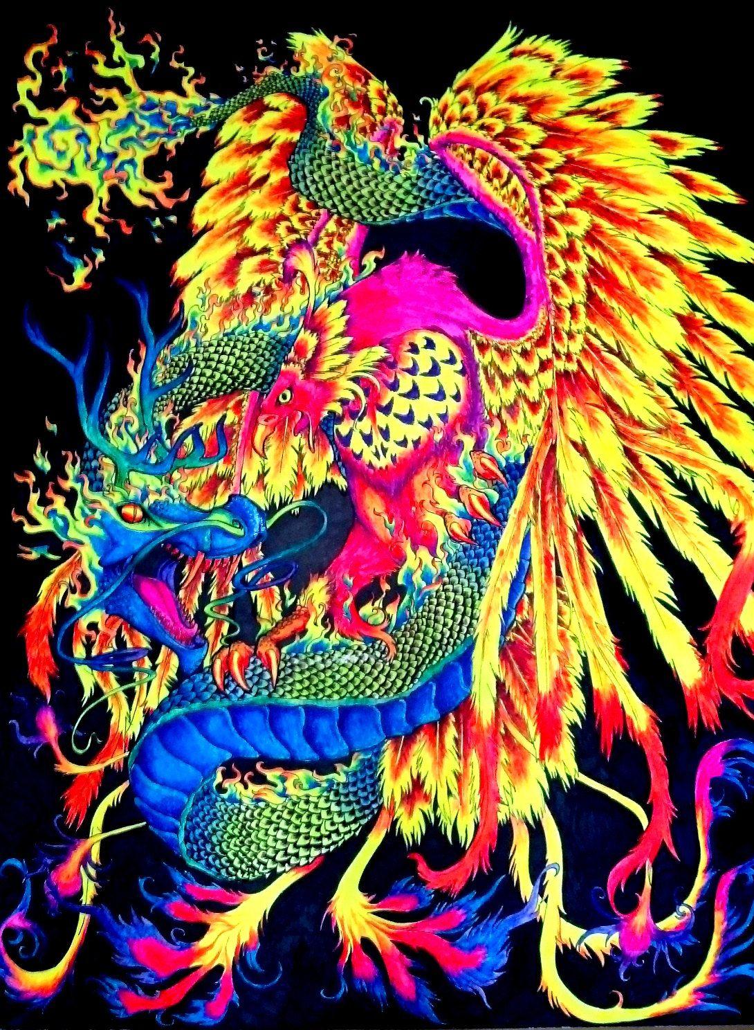 Fluorescent Blacklight Painting, Dragon and Phoenix. $150 ... - photo#43