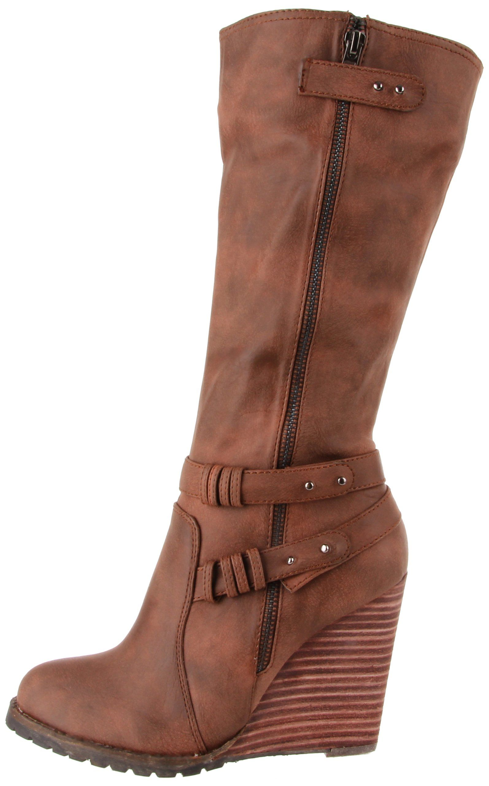 Very Volatile Women's Kearney Wedge Boot,Brown,8 B US