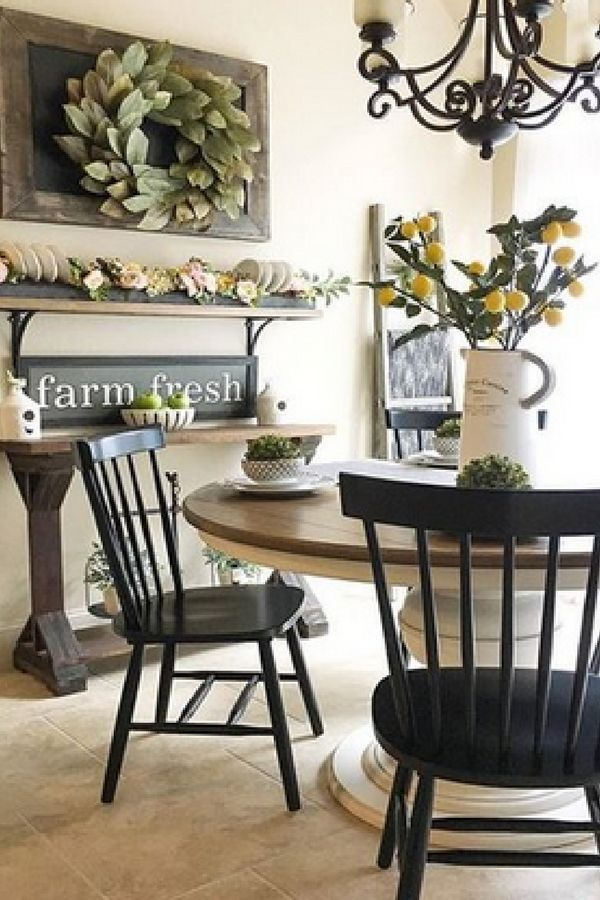 Farmhouse Style Dining Room Love The Lemon Plant In The White