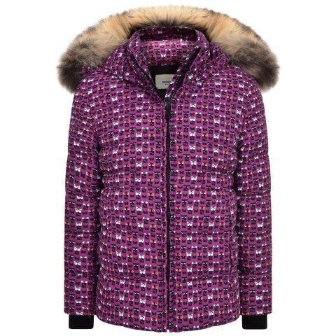 2d6ad08995e7 Fendi Girls Purple Monster Print Coat With Fur Trim Hood