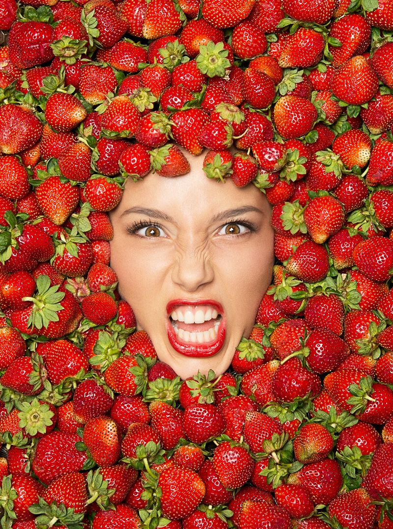 Strawberry Red Lips Fruit Food Sweet Color Colorful Red