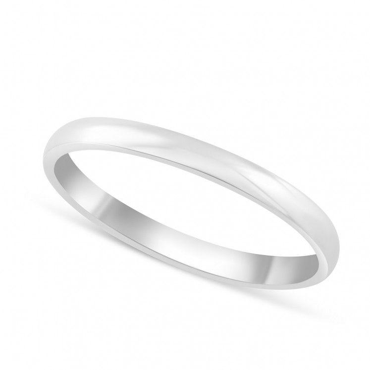 18ct white gold classic ladies 2mm court wedding ring