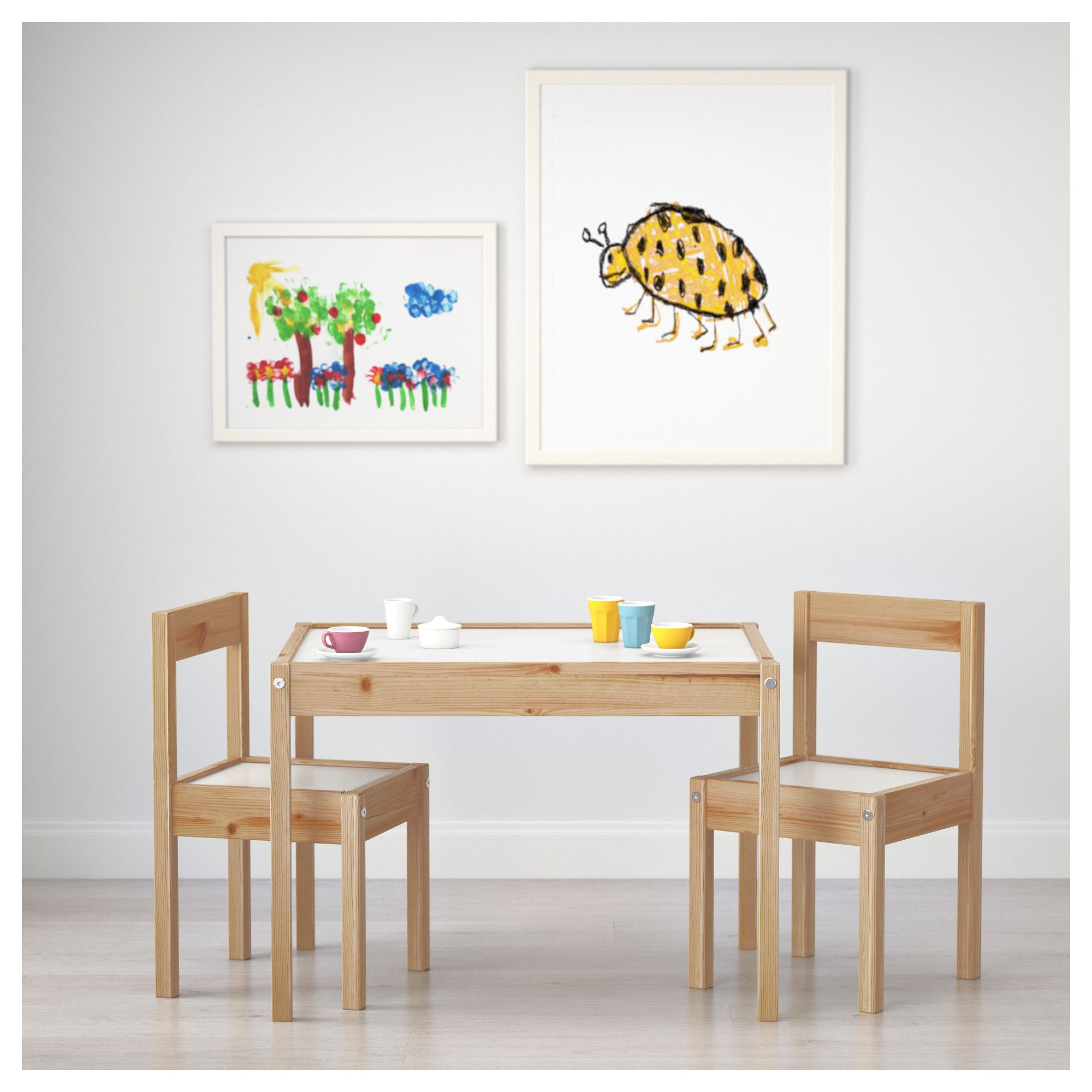 Ikea L 196 Tt Children S Table And 2 Chairs White Pine