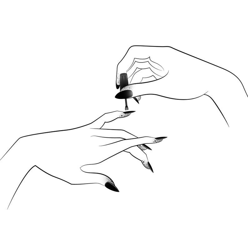 Minimal Nail Polish Beauty Printable Etsy Minimal Nails Minimal Drawing Sketches Nail Drawing
