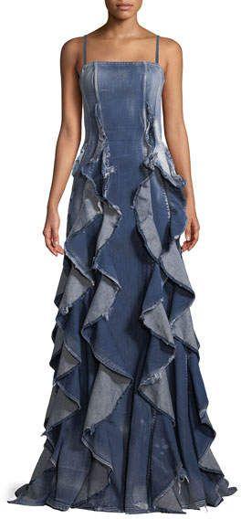 ec3d3d9399 Ralph Lauren Collection Eve Sleeveless Ruffled Denim Evening Gown ...