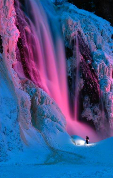 Cool Pink And Blue Waterfall Nature Waterfall Beautiful Places