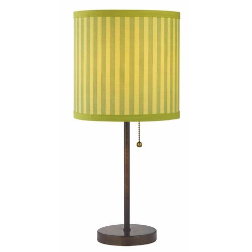 Pull Chain Table Lamp Bronze Pullchain Table Lamp With Green Striped Shade
