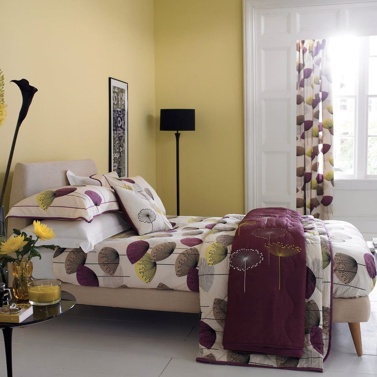 2015 08 decorating with plum and damson - Sanderson Dandelion Clocks Damson Justlinen