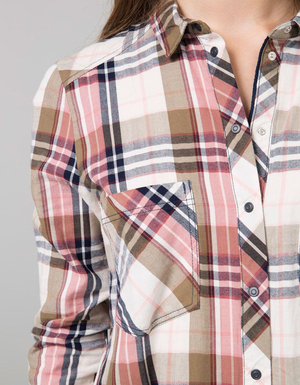 Camisa Bsk Cuadros Botones Snaps Camisas Blusas Bershka Espana Camisas Cuadros Mujer Camisas Camisa De Cuadros