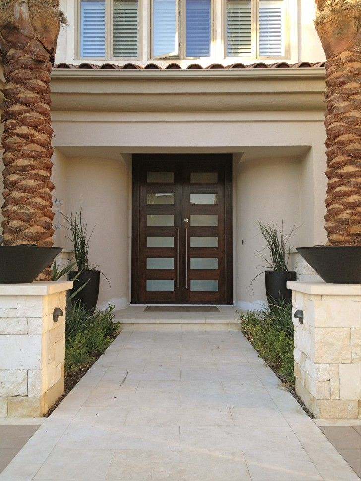 Exterior Dark Brown And Glass Wooden Double Entry Doors With