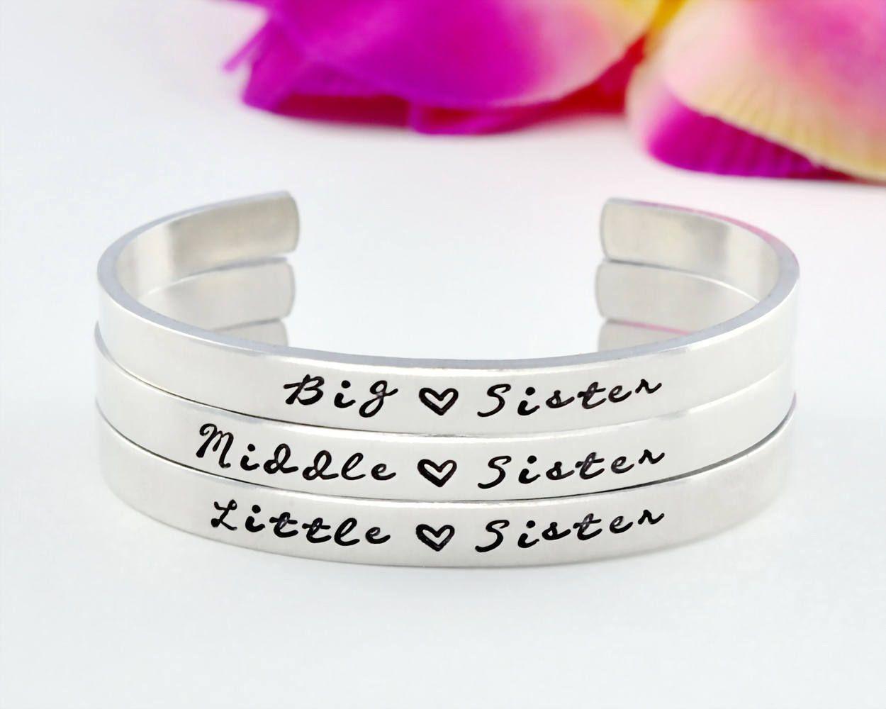 db635ac6ce0 Big Sister Middle Sister Little Sister Cuff Bracelet Set, Three Sisters  Bracelets, Sister Matching Cuff Bangles, Big Mid Lil Sis Gift, V1