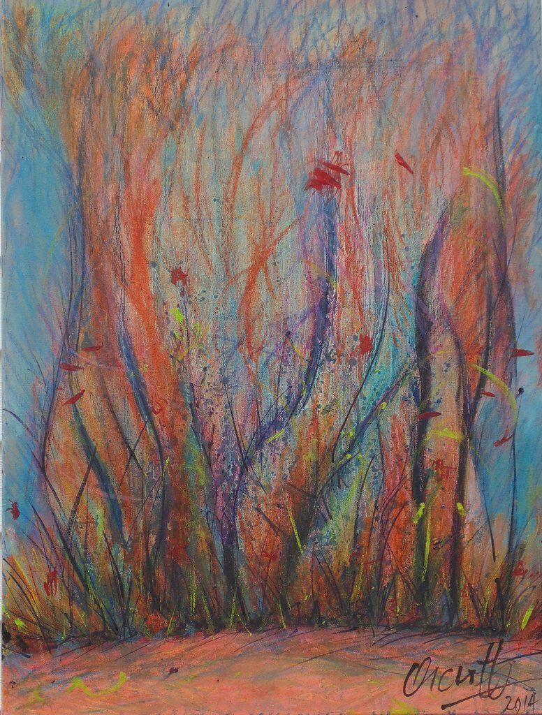 Original oil pastels painting on canvas jump little rabbit