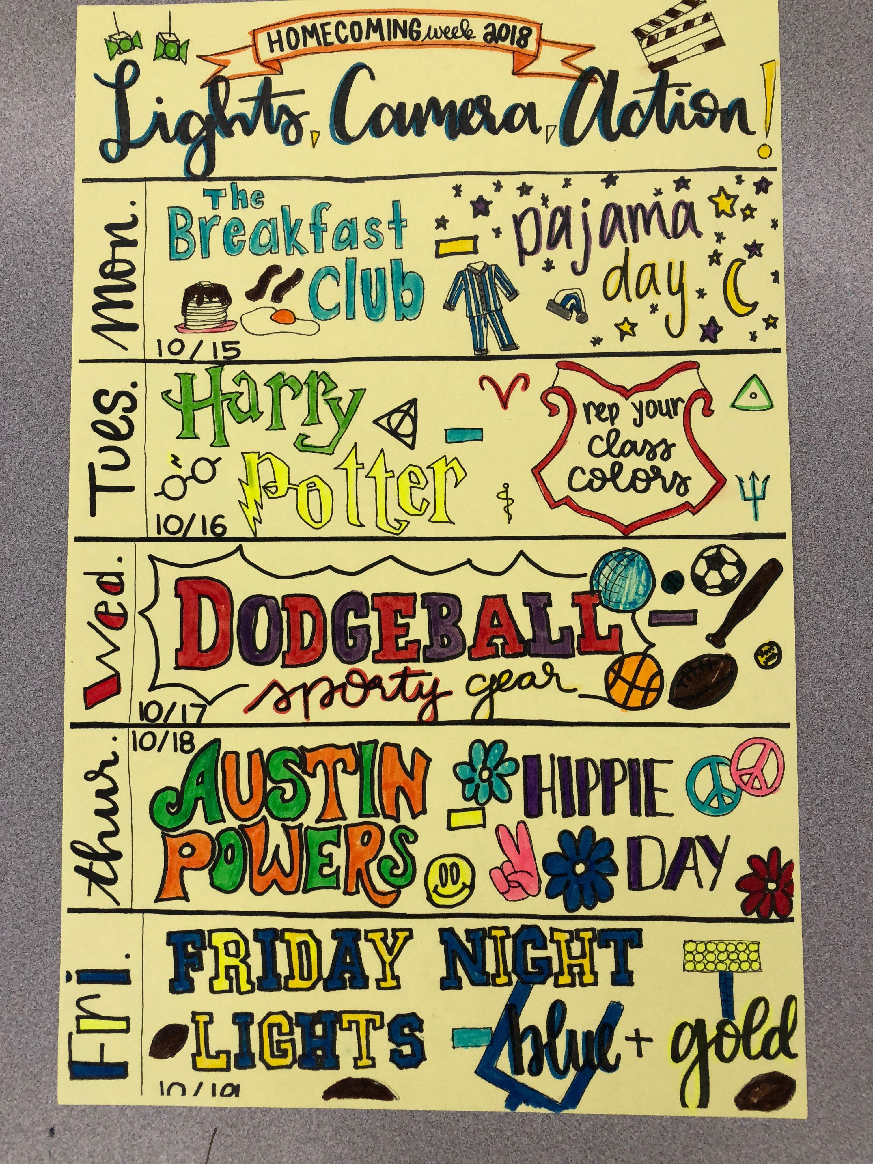 Aghs Flyer For Homecoming 2018 Celebrating Movie Genres School Spirit Week School Spirit Ideas Pep Rally School Spirit Days