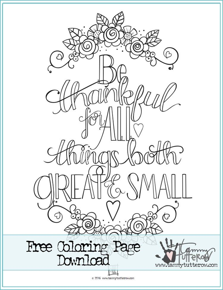 Free Coloring Page Be Thankful For All Things Free Coloring