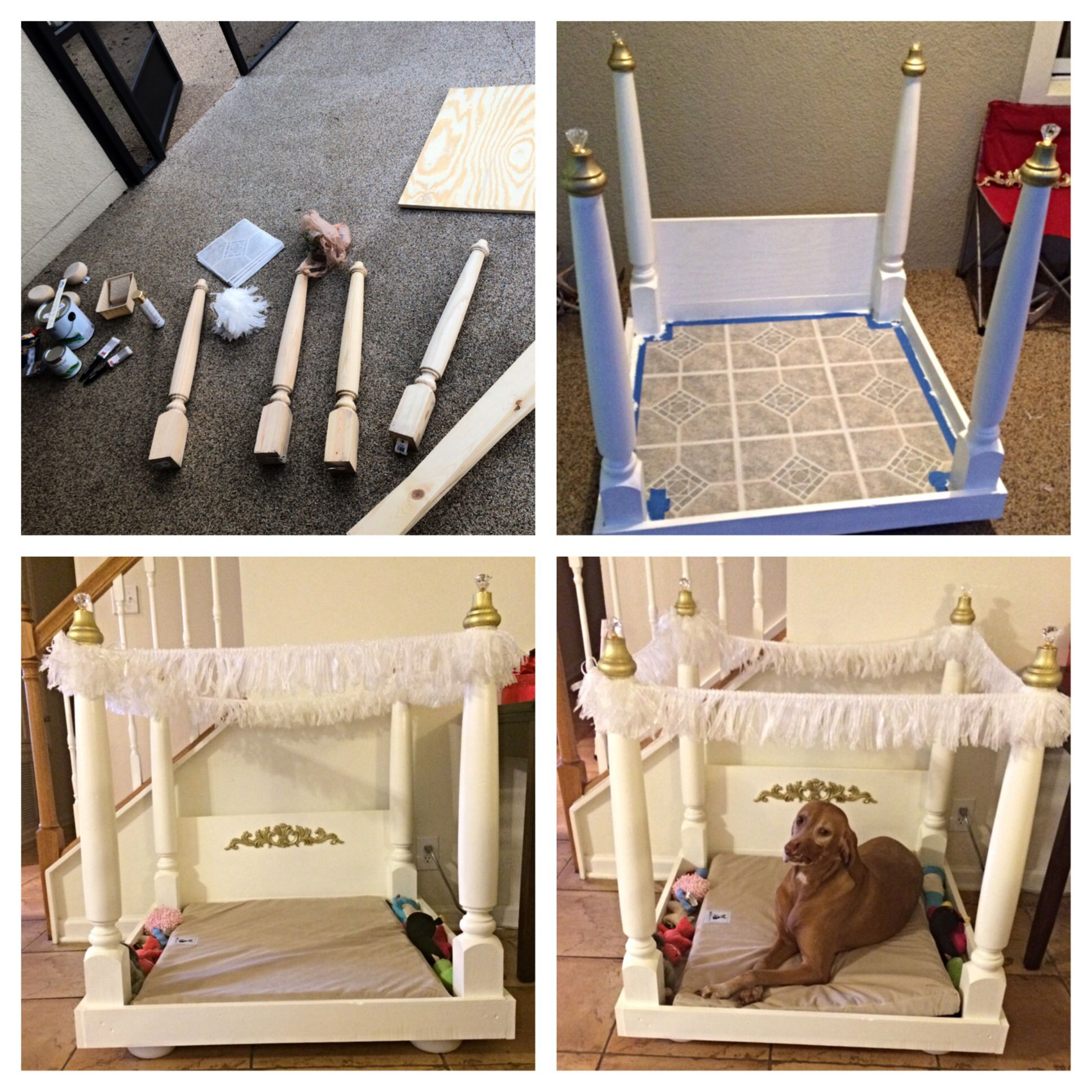 DIY dog bed!!! Love this for my pups!! Dog canopy bed