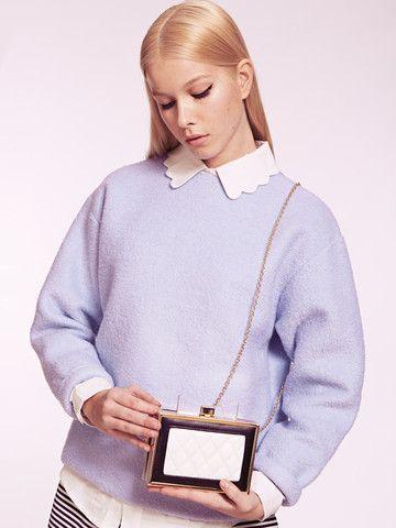 Dahlia New York Monochrome Quilted Clutch Bag with Bow Clasp | Dahlia