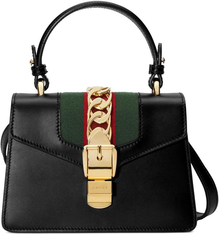 ae952ac7683 Gucci Mini Sylvie Top Handle Leather Shoulder Bag in 2019