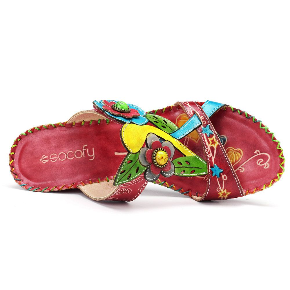 30afed1f901 High-quality SOCOFY Bohemian Genuine Leather Adjustable Hook Loop Handmade  Pattern Sandals - NewChic