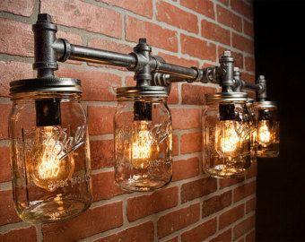 Mason jar light fixture industrial light rustic light vanity