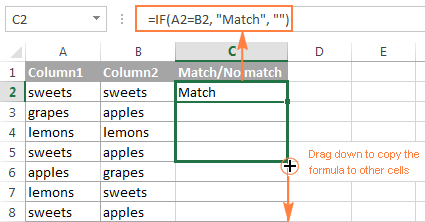 How To Compare Two Columns In Excel For Matches And Differences Excel Column Match