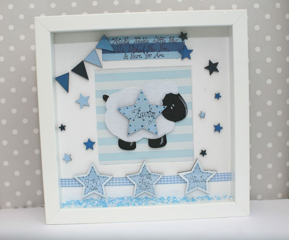 Personalised Newborn Baby Deep Box Picture Frame Christening Gift ...