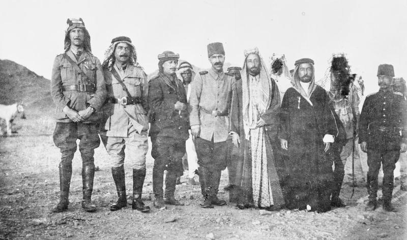 T E LAWRENCE ARAB REVOLT 1916 - 1918 (Q 60006)   Bimbashi Herbert Garland, Sadik Bey (Egyptian Army), Sabri Bey, Ali Negib Bey, Emir Ali bin Husain al-Hashimi, Emir Abdulla bin Husain al-Hashimi, Abdul Rahman Bey (possibly near Medina).