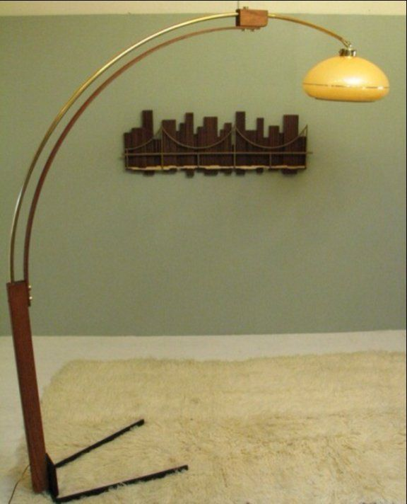 midcentury modern wood and brass arc lamp
