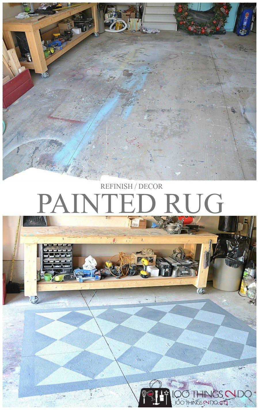 Painting The Garage Floor Painted Rug 100 Things 2 Do Painted Rug Painted Patio Paint Concrete Patio