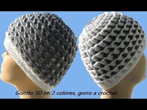 Gorrito 3D en 2 colores, gorro a crochet Gorro №98 - YouTube ...