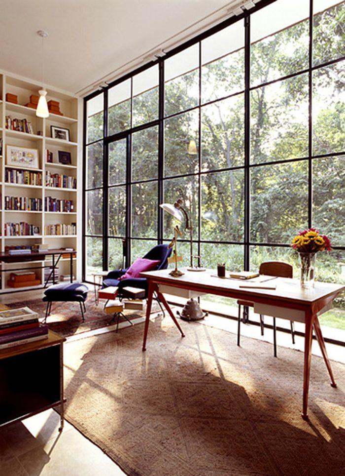 wall of windows SPACES Bahay Pinterest Ventana, Interiores - bibliotecas modernas en casa