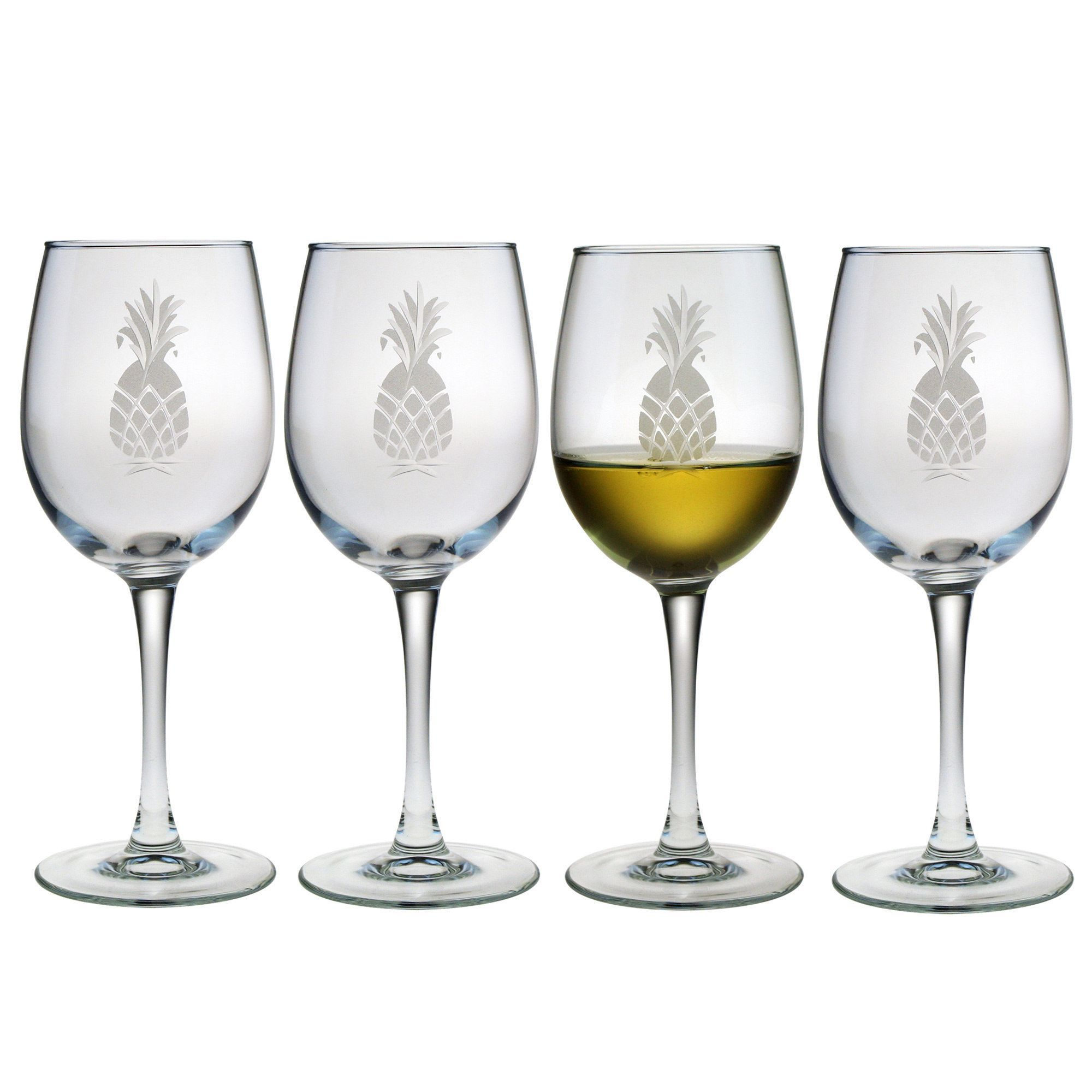 Susquehanna Glass Pineapple Collection White Wine Glasses Set Of