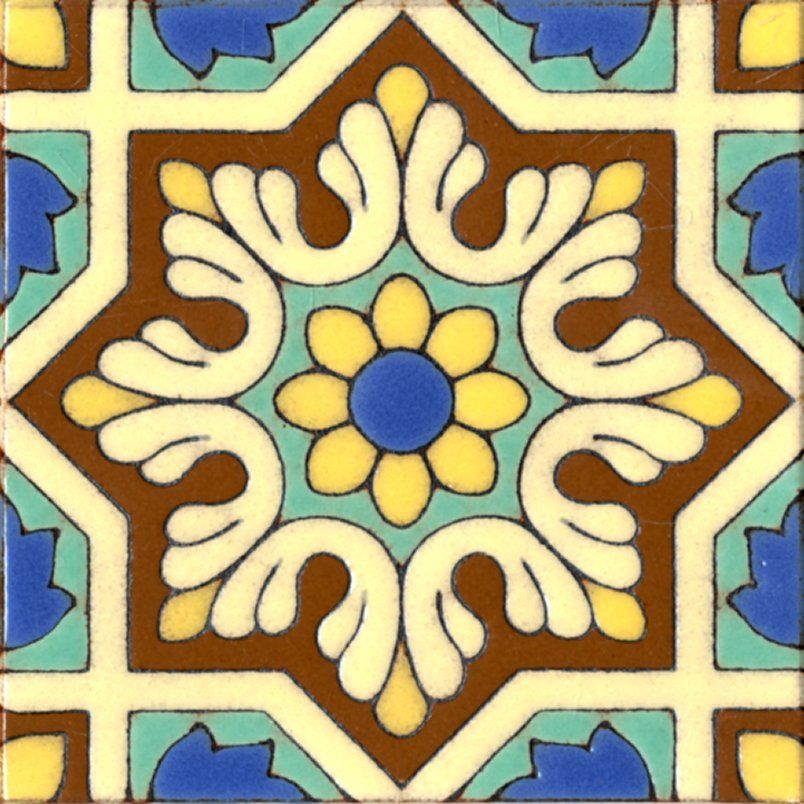 Decorative Tile Designs 6X6 Inch Spanish Historic Medieval Hand Glazed Cuerda Seca
