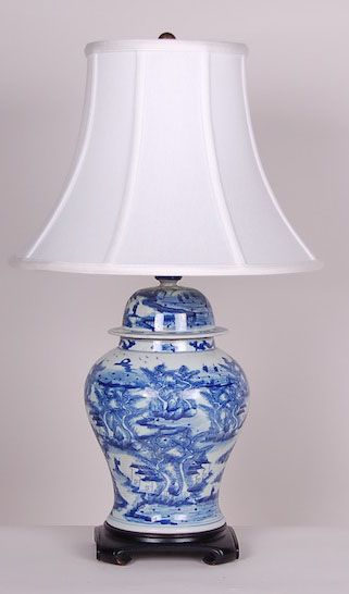 Scenic B/W Jar Lamp: Avala And Summerour Lamps