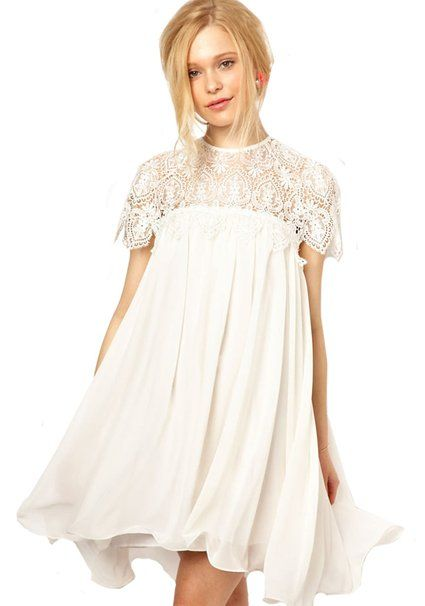 393c974a84 Sheinside Women's White Contrast Lace Short Sleeve Ruffle Dress (One Size,  White)