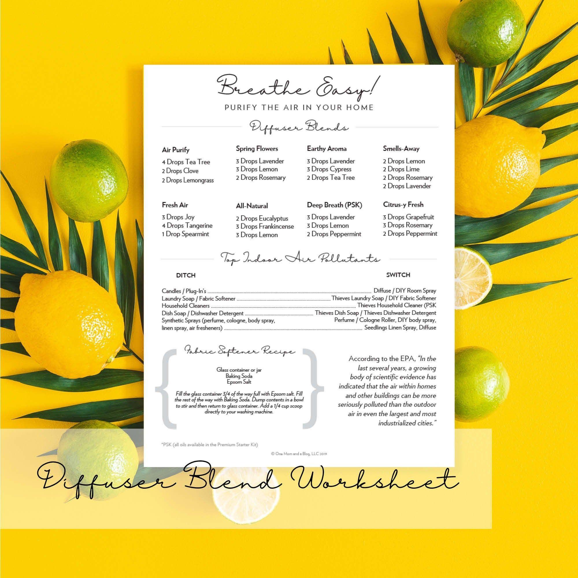 Essential Oil Diffuser Blend Worksheet Recipes Printable